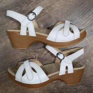 Dansko white leather strappy sandals size 37